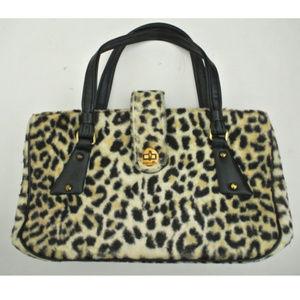vtg ANIMAL PRINT faux fur handbag leopard tote